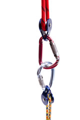 Climbing equipment - pulley, rope, carabiner.