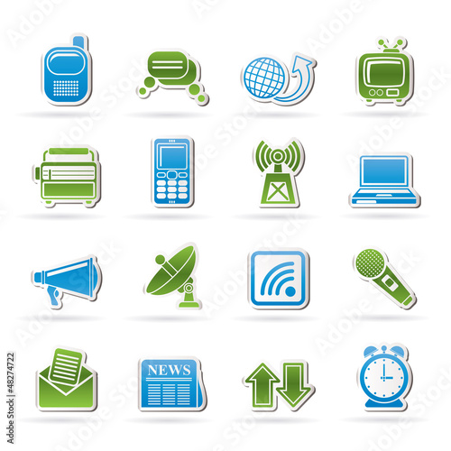Communication and connection icons - vector icon set