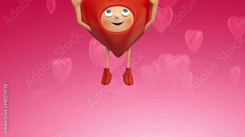 cute Valentine heart jumps and shows blank banner