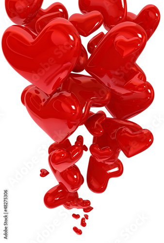 Abstract of flying hearts background