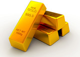 Golden bars 3d concept