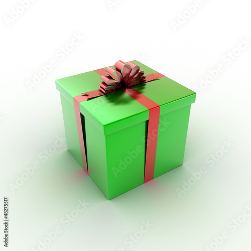 green gift box over white background 3d illustration