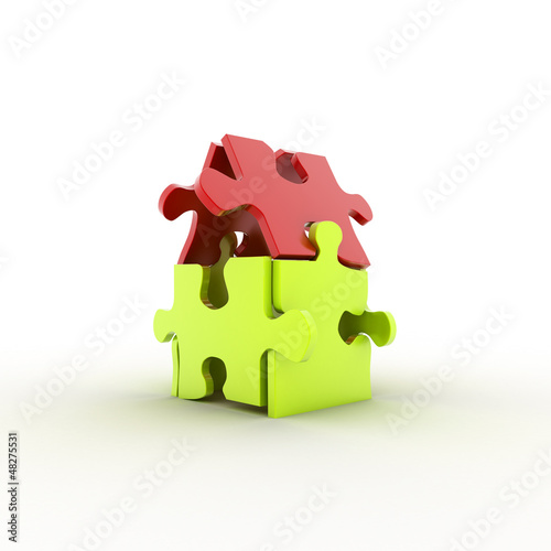 House from puzzles. 3d