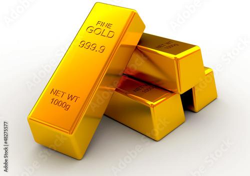 Golden bars 3d concept