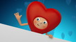 cute Valentine's Day heart cartoon character waving hand