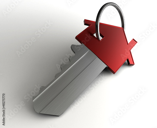 3d rendering of a house key.