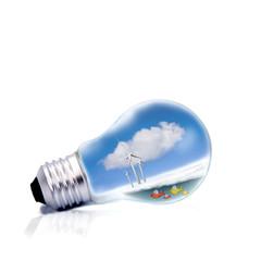 bombilla, energía limpia, concepto
