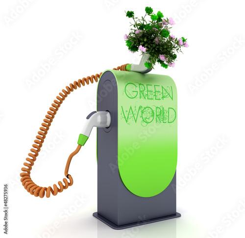 Biofuel green fuel pump nozzle, green world concept
