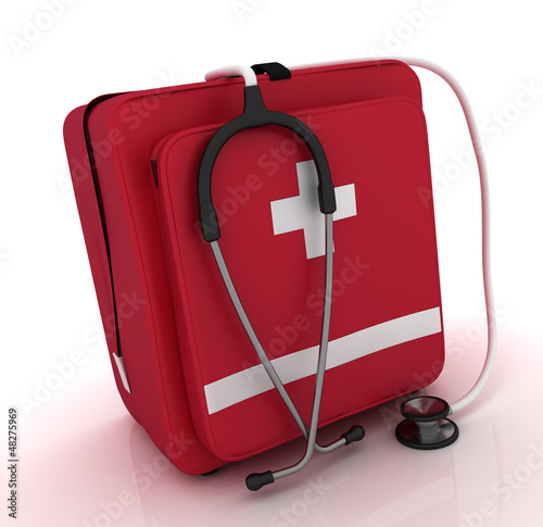 first aid kit, medical kit, isolated on white background