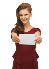 girl with note card