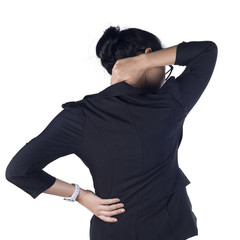 Business woman with back pain isolated white background