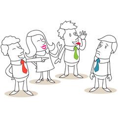 Geschäftsleute, Mobbing, Ausgrenzung, Kollegen
