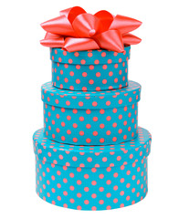 Ribbon bow on three gift boxes with polka dots
