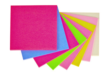 Colorful  note papers on white