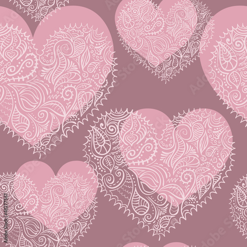 ornamental lace hearts seamless pattern