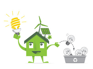 eco house using energy saving bulbs