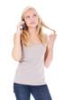 Attraktive junge Frau wartet in Warteschleife