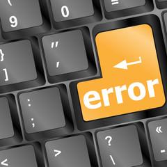 yellow error keyboard button close-up