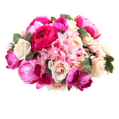 bouquet of artificial flowers roses, hydrangea, peony