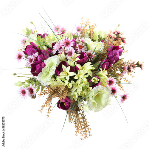 bouquet of artificial flowers on a white background
