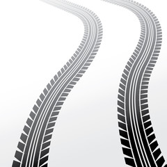 wheels track on light background, illustration