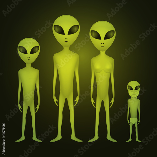 Whole alien family - illustration