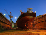Shipbuilding - Repair of a small ship to dock.