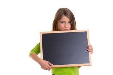 child girl with white frame copy space black blackboard