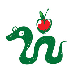 Snake and Apple reptile fruit sin paradise eden