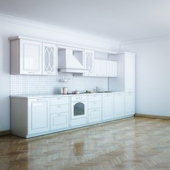 Classic Luxury White Kitchen With Hard Wood