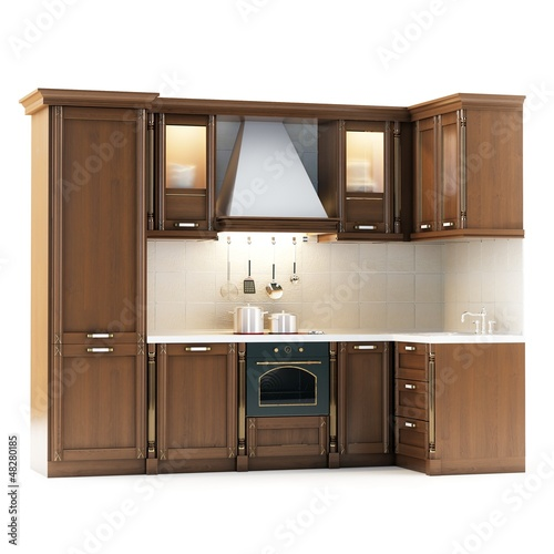 Classic Wooden Kitchen Isolated On White