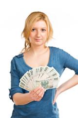 nastolatka z pieniędzmi