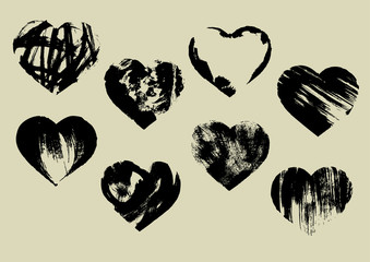 Black painted hearts