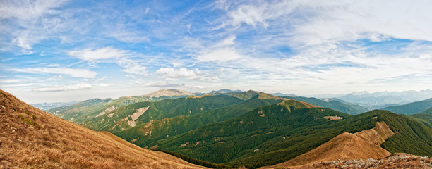 panoramic view of Appennino Reggiano in the north of Italy