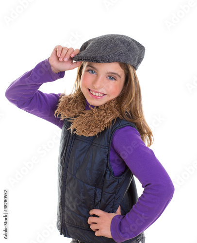 children kid winter girl with cap coat and fur smiling