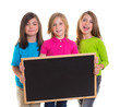 children girls group holding blank blackboard copy space