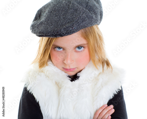 angry gesture child sad blond kid girl portrait winter cap