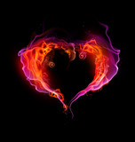 Fototapety St. Valentine burning heart with flames