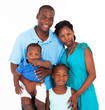 happy african family group portrait on white