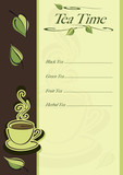 Cafe card for tea menu with cup of hot tea and leaves