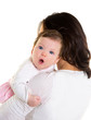 Baby girl hug in mother arms on white
