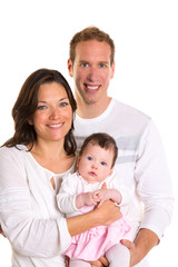 Baby girl mother and father family happy on white