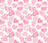 Pattern with red hearts