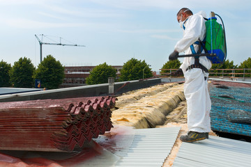 Worker during the removal of the asbestos