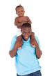 happy african baby boy sitting on father's shoulders