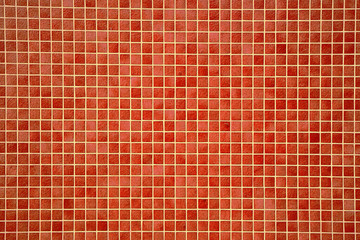 Colourful orangey-red mosaic tiles