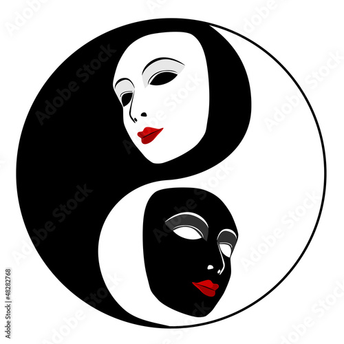 Masks. Ying yang symbol of harmony and balance
