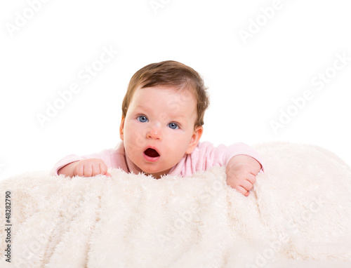 baby girl open mouth funny gesture in pink