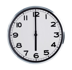 Six hours on the large wall clock