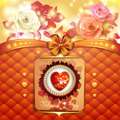 Valentine's day card with hearts and roses